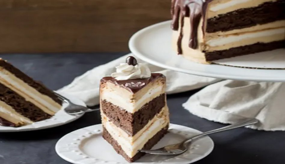 A slice of ice cream cake with a chocolate ganache topping