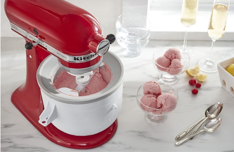 KitchenAid® Stand Mixer in Empire Red with Ice Cream Maker Attachment