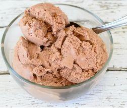 A bowl of homemade chocolate blender ice cream