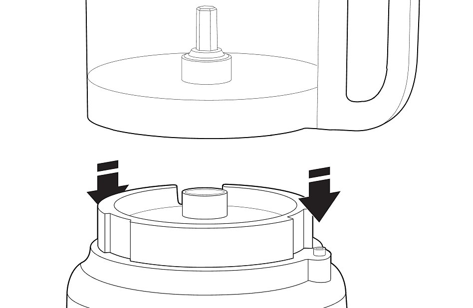 Illustration of food processor bowl lowering onto base