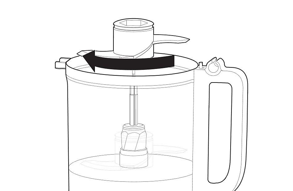 Illustration of food processor blade rotating onto drive adaptor