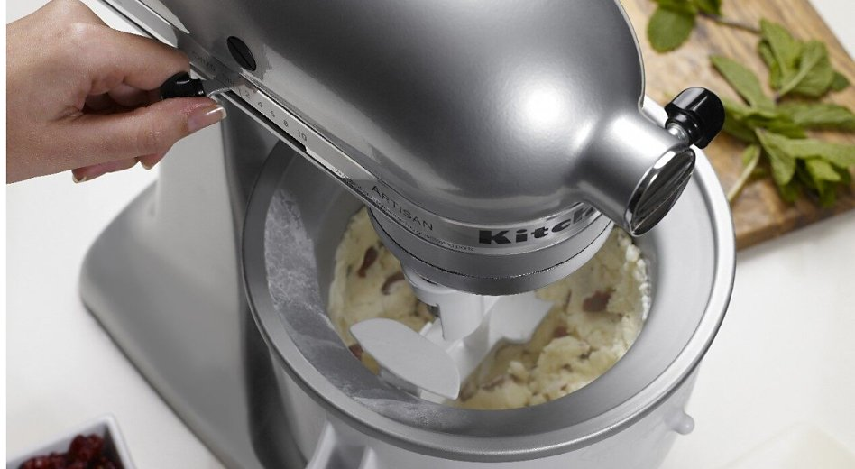 Ice cream churning inside a KitchenAid® Ice Cream Maker attachment bowl