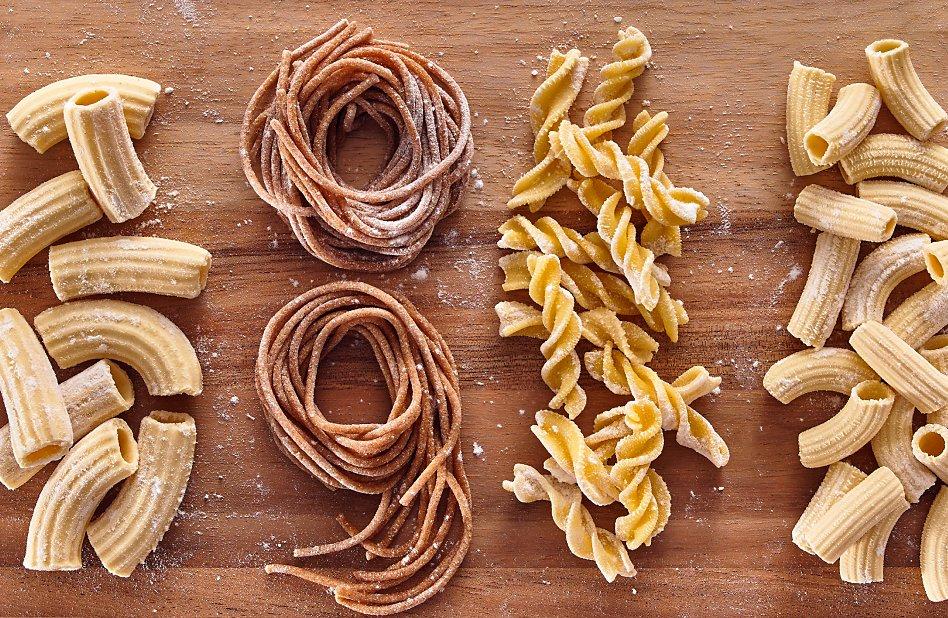 Homemade rigatoni, spaghetti and fusilli pasta shapes