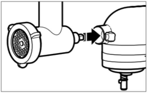 Illustration showing food grinder attachment lining up with stand mixer hub