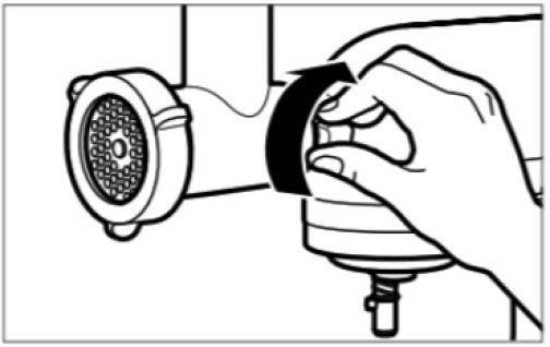 Illustration showing hand tightening mixer hub knob