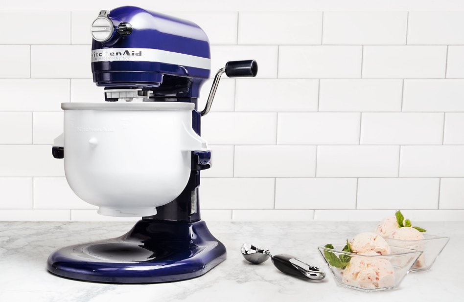 Blue bowl lift stand mixer with Ice Cream Maker attachment on counter