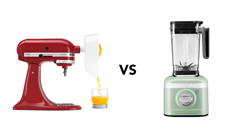 Image with stand mixer with citrus attachment vs blender