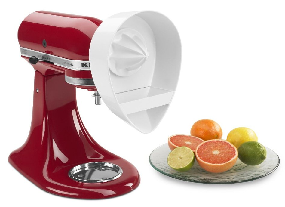 Empire red KitchenAid® stand mixer with citrus juicer attachment