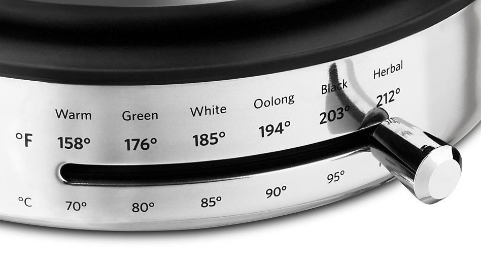 Base of electric tea kettle displaying temperature settings for different types of tea.