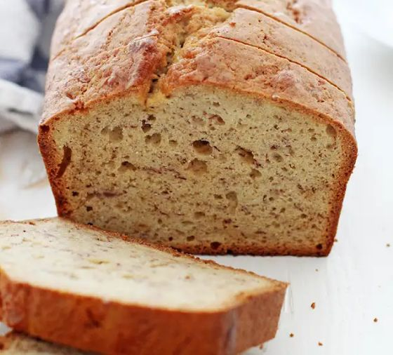 Homemade bread with slice cut off the end