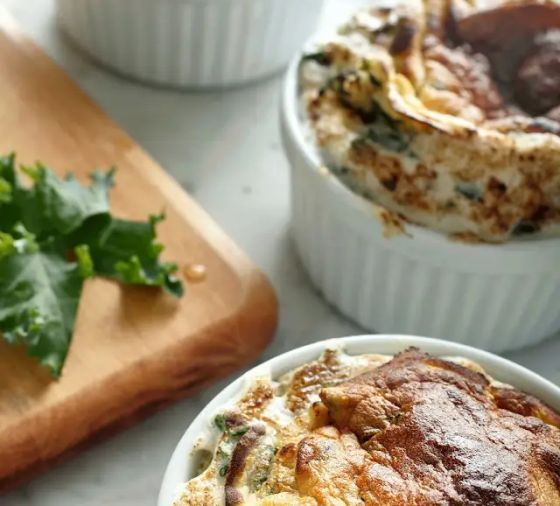 Souffles in white souffle dishes