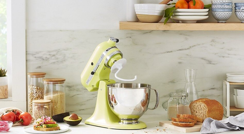 Kyoto Green stand mixer on counter with dough hook and bread