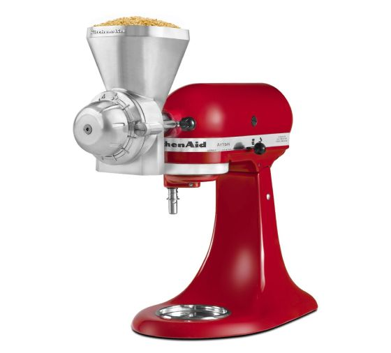 Empire Red KitchenAid® stand mixer with an All Metal Grain Mill