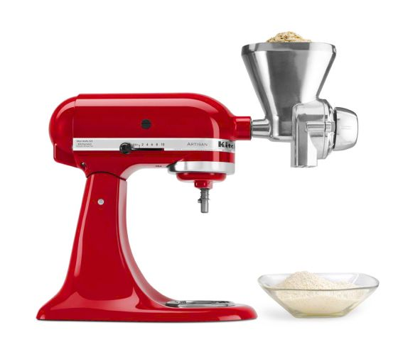 Side view of a KitchenAid® stand mixer with an All Metal Grain Mill
