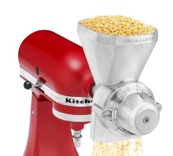KitchenAid® All Metal Grain Mill attachment milling grain into flour