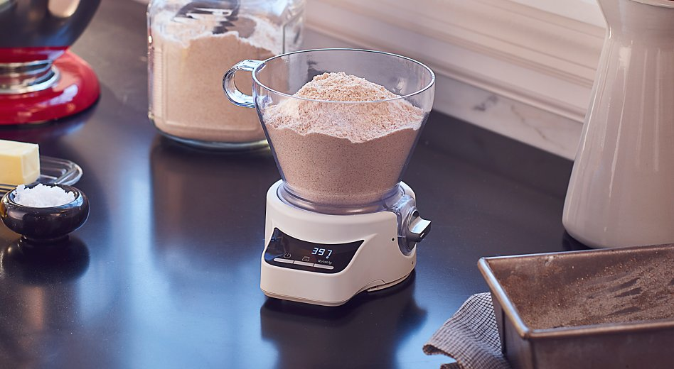 Measuring flour in a kitchen scale