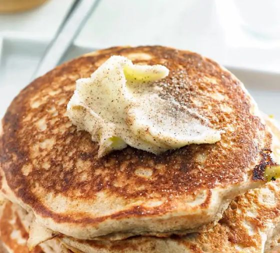 A stack of homemade pancakes