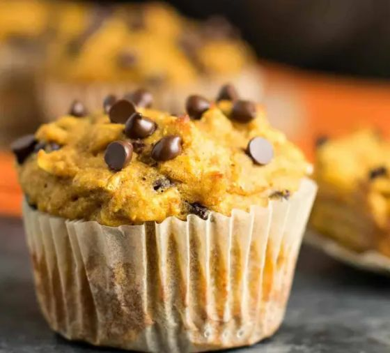 A homemade chocolate chip muffin