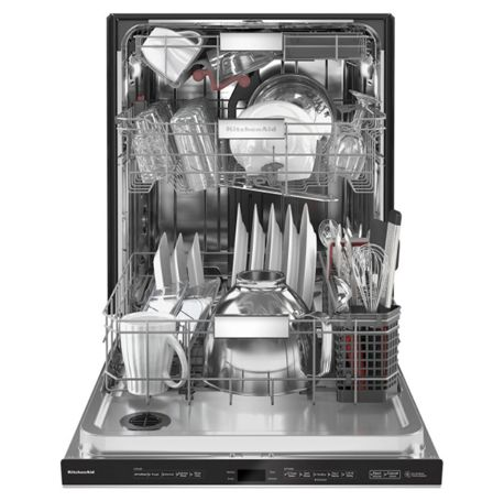 Open third rack dishwasher in stainless steel