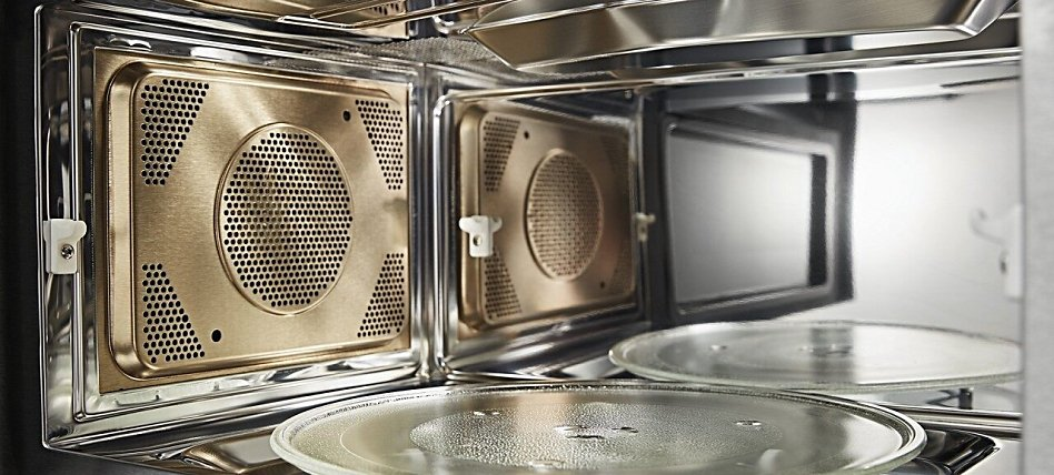 Inside of a convection microwave with a fan
