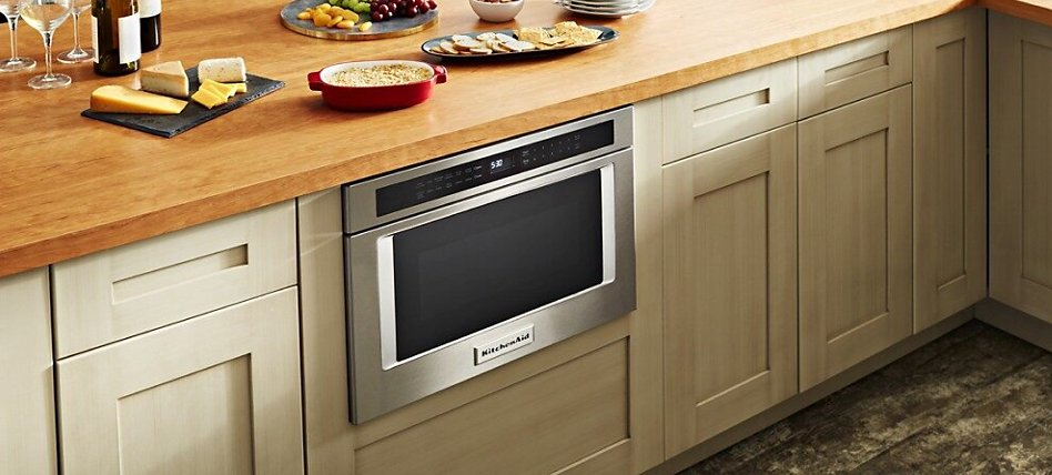 Drawer microwave built into undercounter cabinets