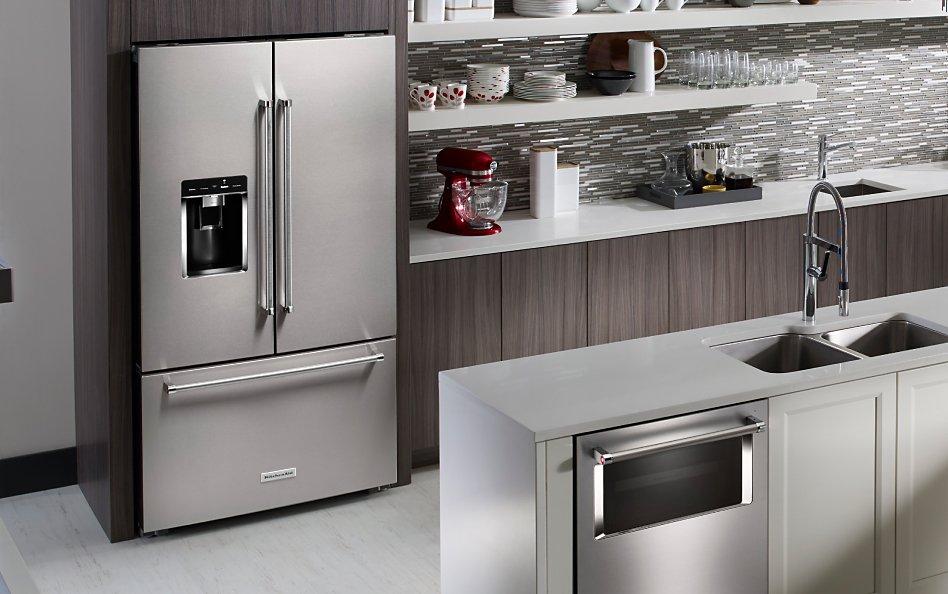 French door refrigerator in contemporary kitchen