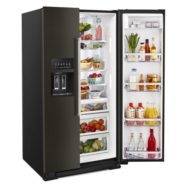 Black stainless steel side-by-side refrigerator style with door open