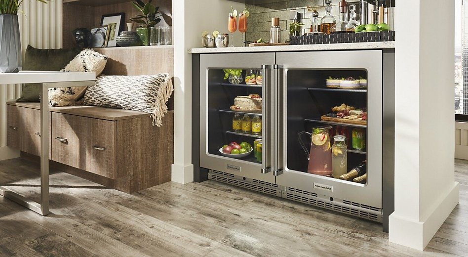 Undercounter refrigerators with food and drinks inside