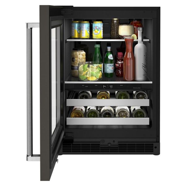 Open beverage center type of fridge with wine bottles and drinks