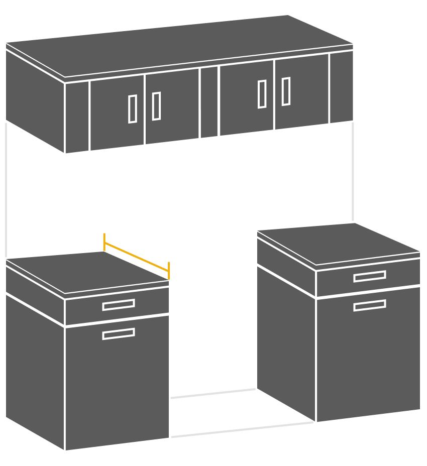 Illustration showing how to measure cabinet cutout depth
