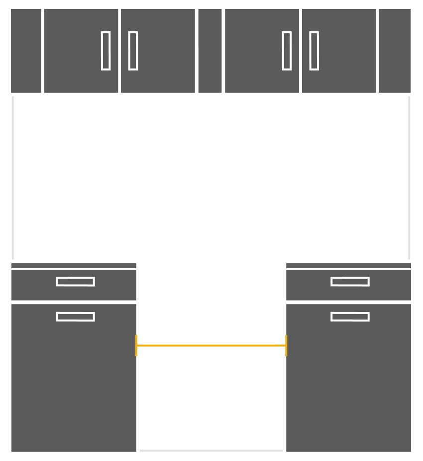 Illustration showing how to measure cabinet cutout width