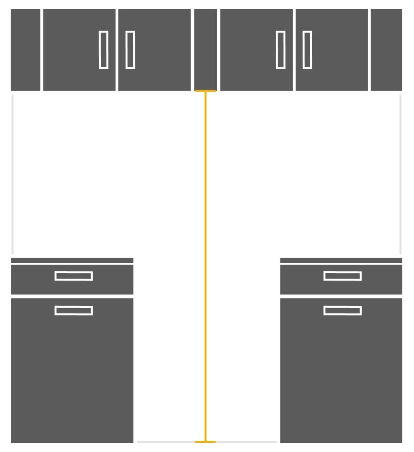 Illustration showing how to measure cabinet cutout height