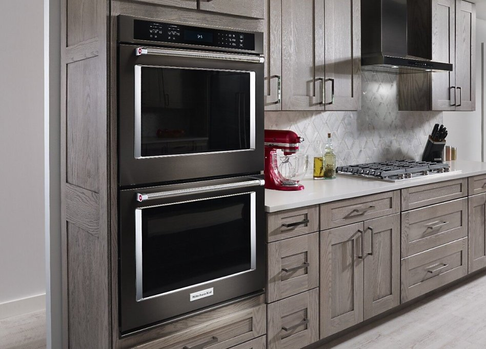 Double wall oven installed in kitchen cabinets