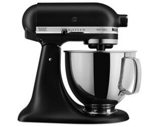 Una batidora KitchenAid color negro mate con un bowl metalico.