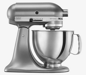 Una batidora KitchenAid color gris metalico con un bowl metalico.