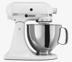 Una batidora KitchenAid color blanco con un bowl metalico.