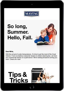 iPad showing a seasonal newsletter with tips & tricks
