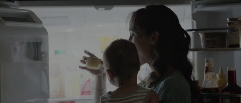 Woman and fridge