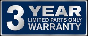 3 year limited parts only warranty