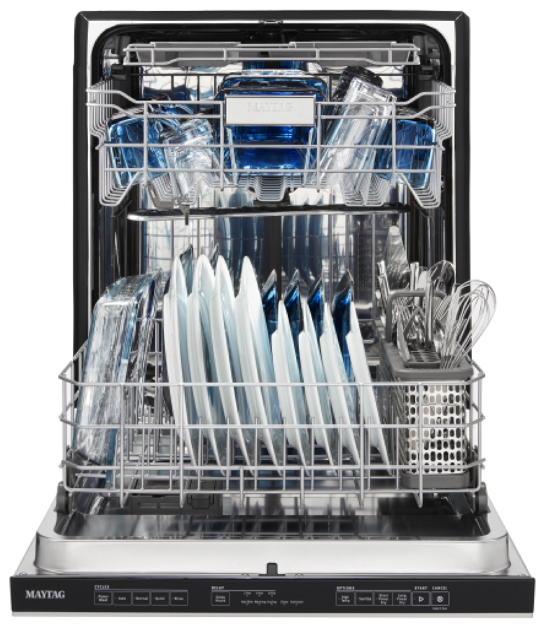 A Maytag large-capacity dishwasher with its door open and racks loaded with dishes.