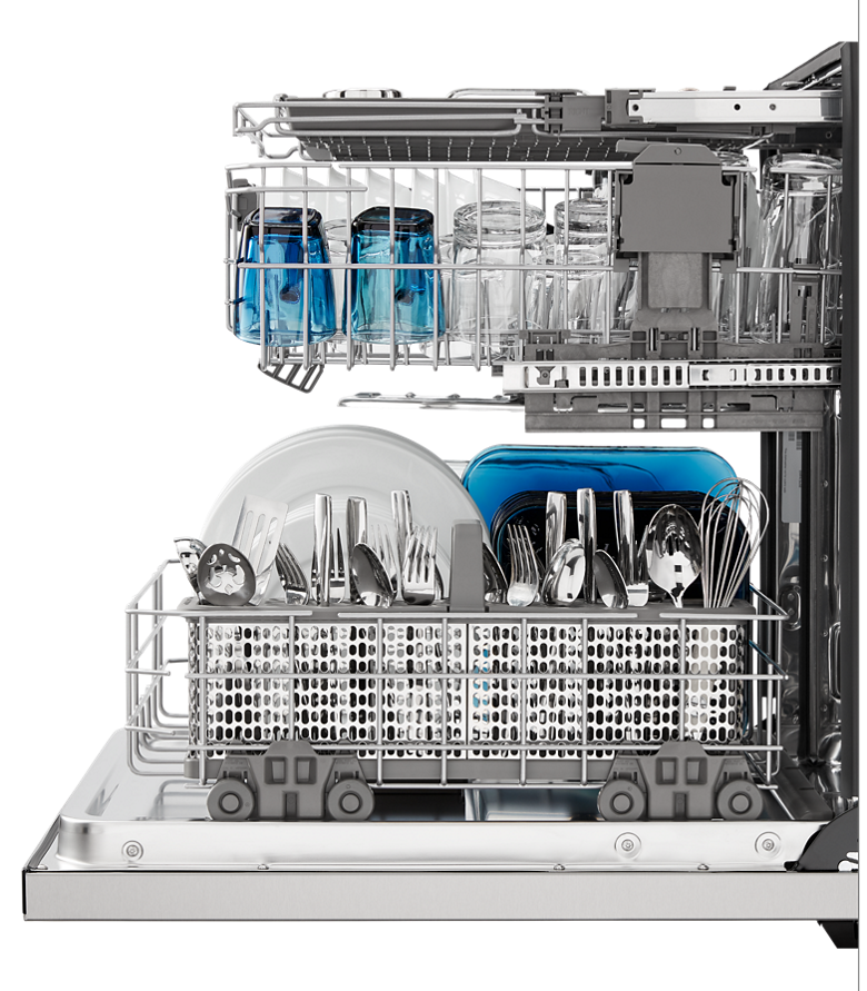 A Maytag dishwasher with its door open and racks full of dry dishes.