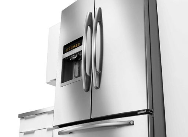 A Maytag stainless steel French door fridge.