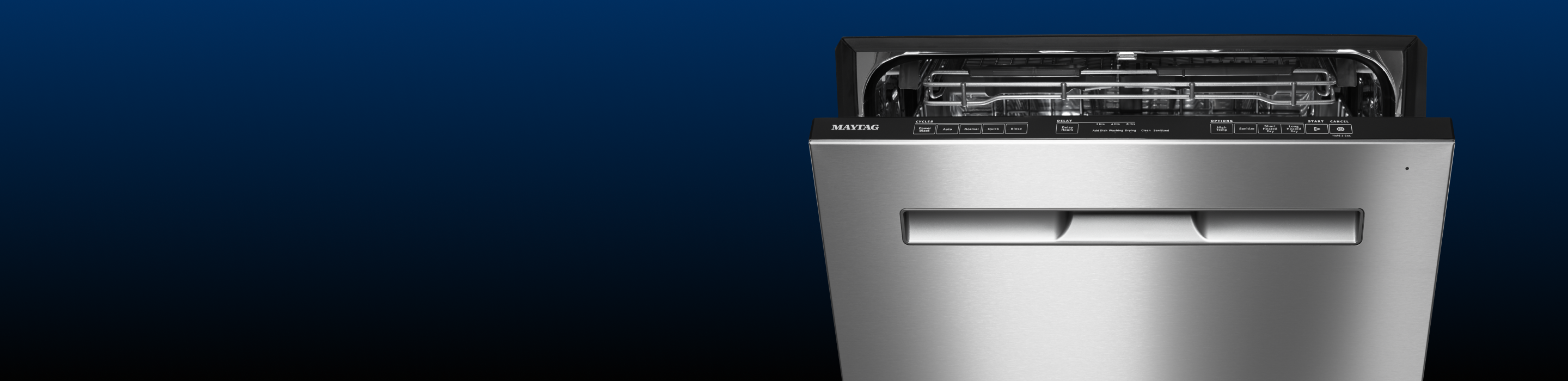 A Maytag stainless dishwasher with its door ajar.