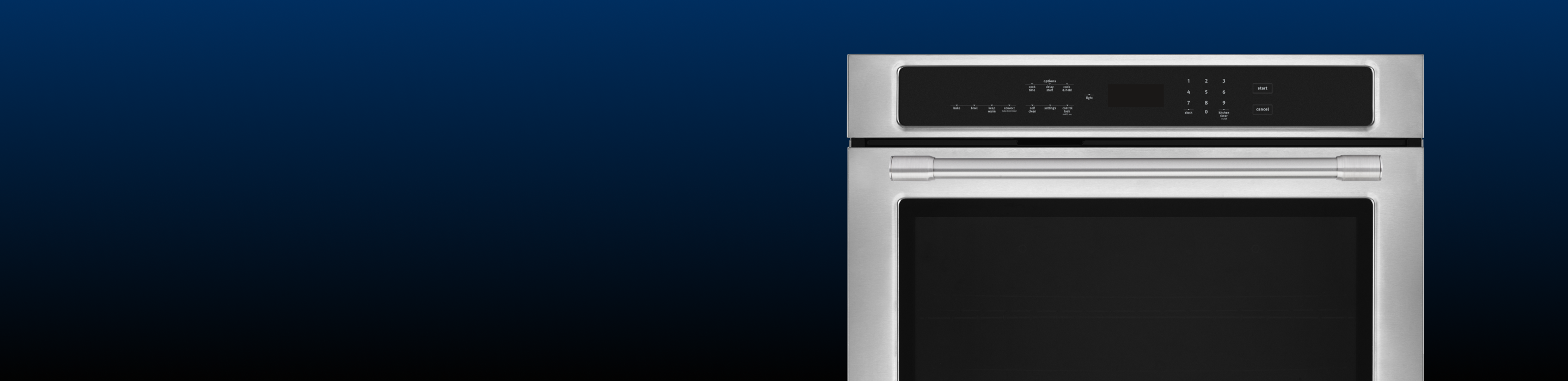 Close-up of a Maytag stainless wall oven.