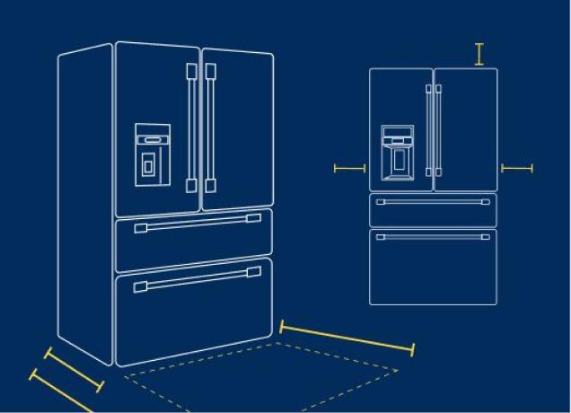 Illustration of Maytag refrigerator dimensions.