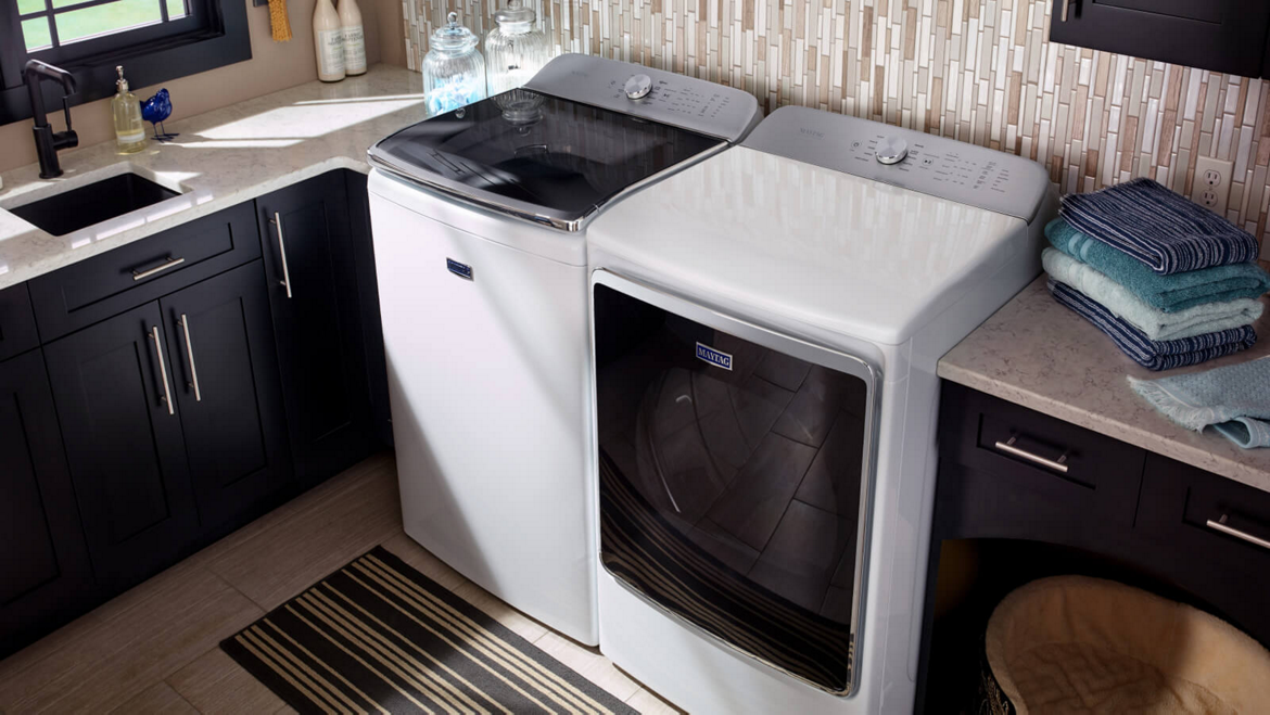 Maytag® front-load washer and dryer pair.
