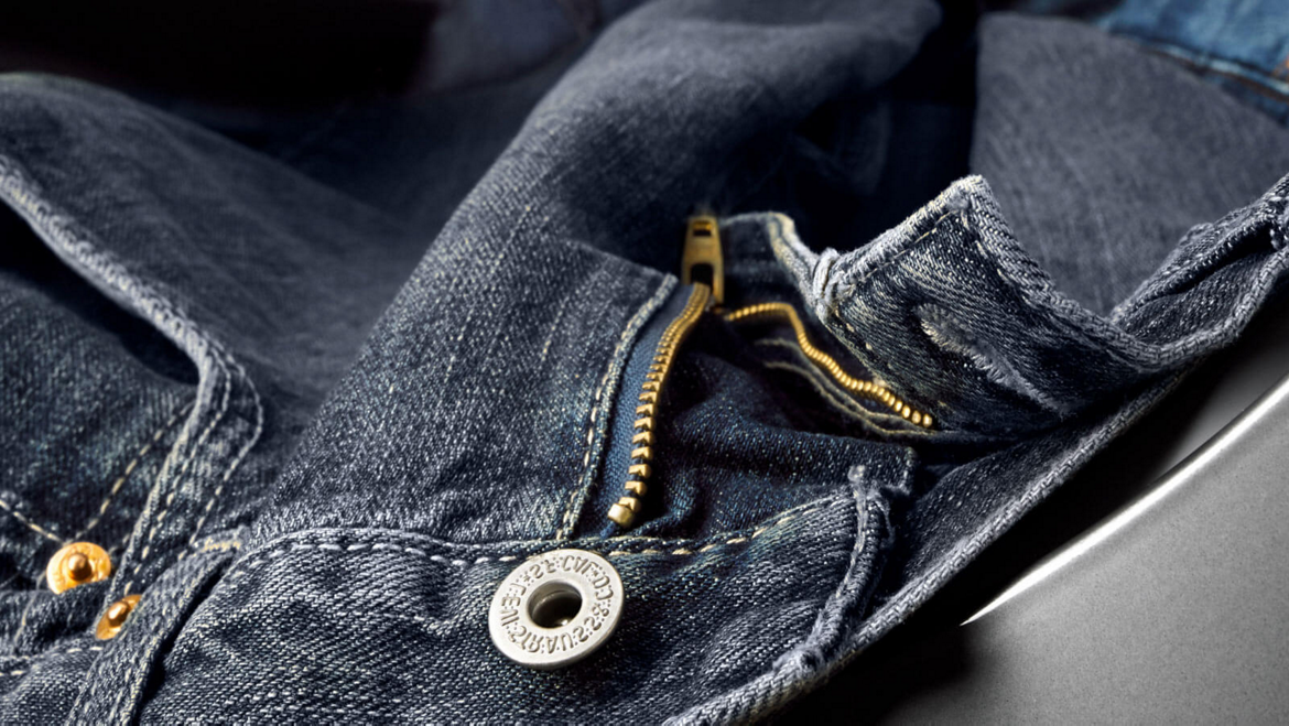 A pair of jeans prepared for washing.