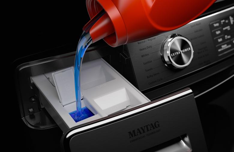Maytag® washing machine detergent dispenser.
