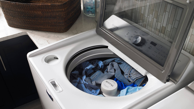 Washing machine laundry cycle options.