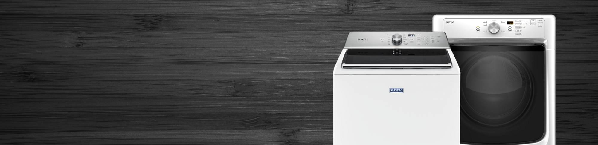 A white Maytag® washer and dryer pair.
